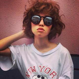ストリート アッシュ ミディアム 外ハネ ヘアスタイルや髪型の写真・画像