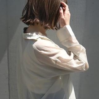シースルーバング フェミニン ボブ アンニュイほつれヘア ヘアスタイルや髪型の写真・画像