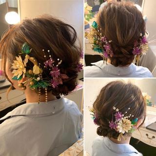 ルーズヘア フェミニン ヘアアレンジ 成人式ヘア ヘアスタイルや髪型の写真・画像