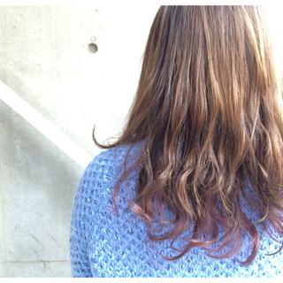 グラデーションカラー セミロング ダブルカラー ガーリー ヘアスタイルや髪型の写真・画像 ヘアスタイルや髪型の写真・画像