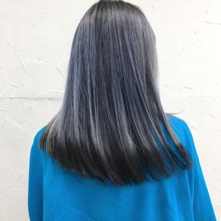 ブルー ネイビー 秋 ブルーアッシュ ヘアスタイルや髪型の写真・画像
