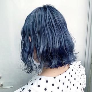 ボブ ネイビーカラー ネイビーブルー ネイビーアッシュ ヘアスタイルや髪型の写真・画像