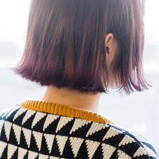 ピンク 小顔 ニュアンス グラデーションカラー ヘアスタイルや髪型の写真・画像