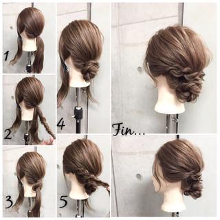 ショート 簡単ヘアアレンジ セミロング ラフ ヘアスタイルや髪型の写真・画像