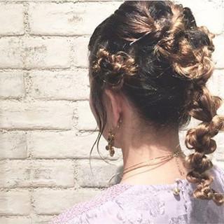 セミロング 編み込み モード ヘアアレンジ ヘアスタイルや髪型の写真・画像