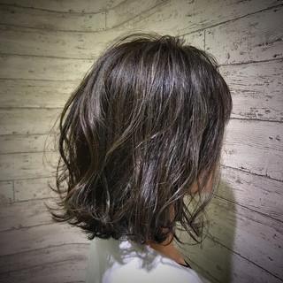 ニュアンス 切りっぱなし ハイライト ボブ ヘアスタイルや髪型の写真・画像
