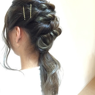ゆるふわ ミディアム ストリート 簡単ヘアアレンジ ヘアスタイルや髪型の写真・画像 ヘアスタイルや髪型の写真・画像
