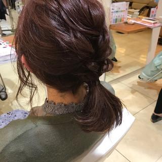 編み込み 結婚式 簡単ヘアアレンジ ボブ ヘアスタイルや髪型の写真・画像