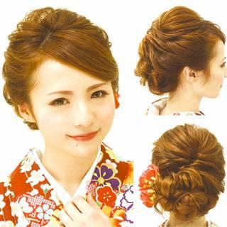 編み込み アップスタイル 着物 大人かわいい ヘアスタイルや髪型の写真・画像