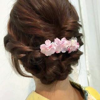 セミロング お祭り まとめ髪 モテ髪 ヘアスタイルや髪型の写真・画像