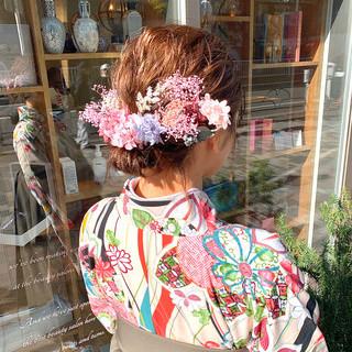 ミディアム ガーリー 結婚式ヘアアレンジ ボブアレンジ ヘアスタイルや髪型の写真・画像