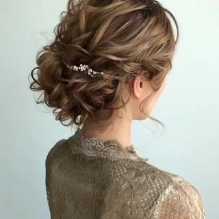 セミロング ゆるナチュラル 結婚式ヘアアレンジ ヘアアレンジ ヘアスタイルや髪型の写真・画像