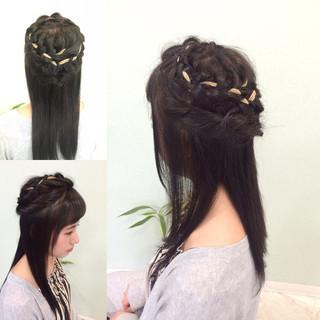 ロング 黒髪 ヘアアレンジ ハーフアップ ヘアスタイルや髪型の写真・画像