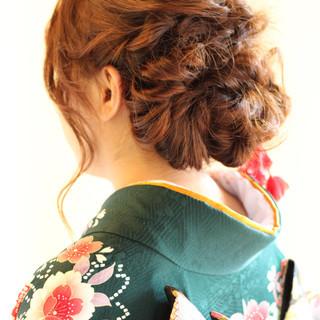 パーティ セミロング 簡単ヘアアレンジ 大人かわいい ヘアスタイルや髪型の写真・画像