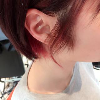 ツートン インナーカラー ピンク ショート ヘアスタイルや髪型の写真・画像 ヘアスタイルや髪型の写真・画像