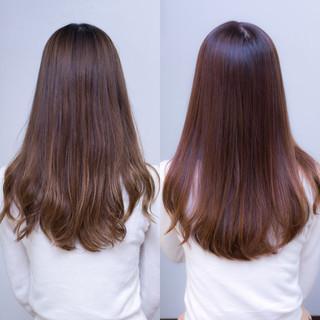 ガーリー ピンクブラウン 暗髪 ロング ヘアスタイルや髪型の写真・画像