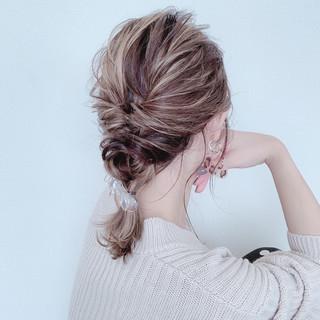 簡単ヘアアレンジ お呼ばれヘア セルフヘアアレンジ ナチュラル ヘアスタイルや髪型の写真・画像