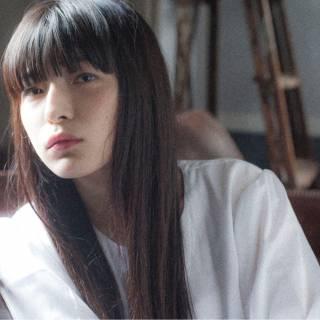暗髪 モード ウェットヘア ロング ヘアスタイルや髪型の写真・画像