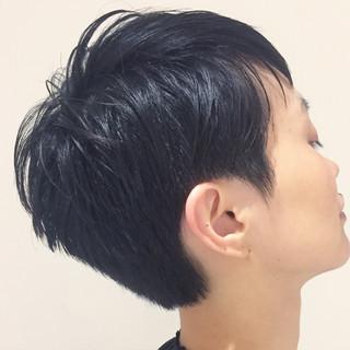 モード ベリーショート ブルーブラック ショート ヘアスタイルや髪型の写真・画像