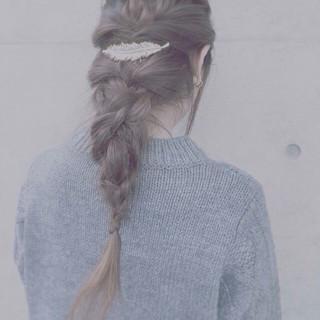バレッタ 編み込み くるりんぱ ロング ヘアスタイルや髪型の写真・画像 ヘアスタイルや髪型の写真・画像