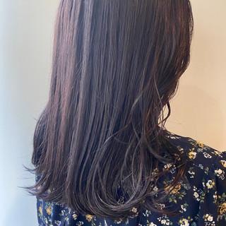 ラベンダーグレージュ ミディアム ダークトーン ナチュラル ヘアスタイルや髪型の写真・画像