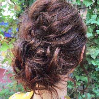 セミロング 大人かわいい お祭り ヘアアレンジ ヘアスタイルや髪型の写真・画像