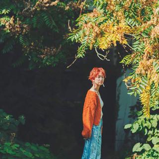ベリーショート ナチュラル オレンジカラー ショートヘア ヘアスタイルや髪型の写真・画像