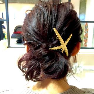 ショート パープル 簡単ヘアアレンジ ヘアアレンジ ヘアスタイルや髪型の写真・画像