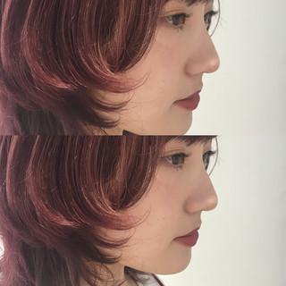 ミディアム ピンク ガーリー ウルフカット ヘアスタイルや髪型の写真・画像
