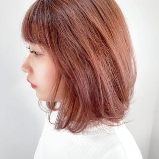 大人可愛い ミディアム ニュアンスヘア ピンク ヘアスタイルや髪型の写真・画像