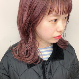 ガーリー ピンク ミディアム 春ヘア ヘアスタイルや髪型の写真・画像