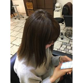 グレージュ ロブ グラデーションカラー ストリート ヘアスタイルや髪型の写真・画像