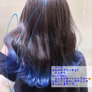 ブルーブラック ブルー ブリーチ ネイビーブルー ヘアスタイルや髪型の写真・画像