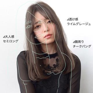 ストレート ナチュラル 縮毛矯正 セミロング ヘアスタイルや髪型の写真・画像