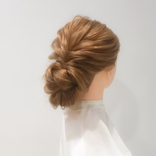 大人女子 くるりんぱ ヘアアレンジ セミロング ヘアスタイルや髪型の写真・画像