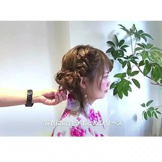 セミロング ヘアアレンジ 花火大会 デート ヘアスタイルや髪型の写真・画像