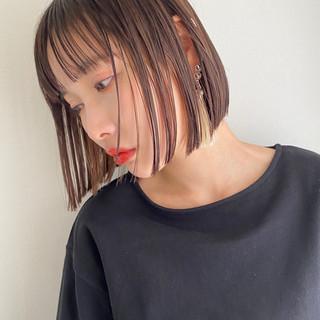 インナーカラー ショートボブ ナチュラル ミニボブ ヘアスタイルや髪型の写真・画像