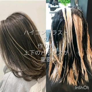 セミロング グラデーションカラー 外国人風カラー バレイヤージュ ヘアスタイルや髪型の写真・画像