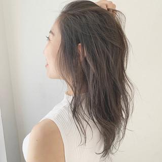 セミロング 大人可愛い モテ髮シルエット アディクシーカラー ヘアスタイルや髪型の写真・画像