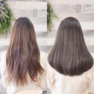 グレージュ 透明感 艶髪 ミディアム ヘアスタイルや髪型の写真・画像