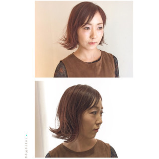 外ハネ 秋 ベリーピンク ウェットヘア ヘアスタイルや髪型の写真・画像