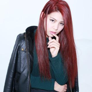 大人かわいい レッド 外国人風 ロング ヘアスタイルや髪型の写真・画像