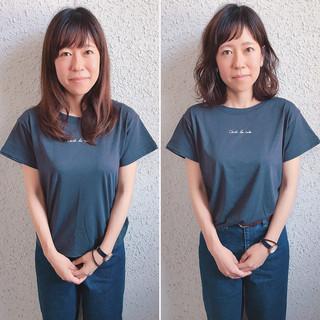 ナチュラル アウトドア 斜め前髪 女子会 ヘアスタイルや髪型の写真・画像