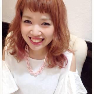 モテ髪 コンサバ セミロング ピンク ヘアスタイルや髪型の写真・画像 ヘアスタイルや髪型の写真・画像