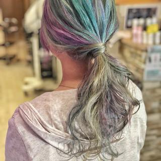 バレイヤージュ ハイライト ストリート ユニコーンカラー ヘアスタイルや髪型の写真・画像