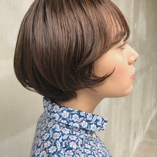 大人かわいい パーマ 抜け感 ショートボブ ヘアスタイルや髪型の写真・画像 ヘアスタイルや髪型の写真・画像