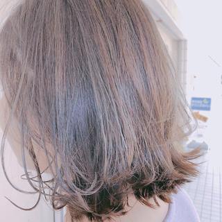 透明感 ハイライト フェミニン ミディアム ヘアスタイルや髪型の写真・画像