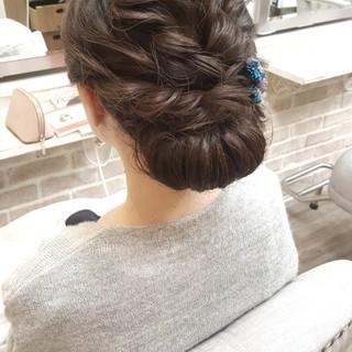 エレガント 結婚式 セミロング デート ヘアスタイルや髪型の写真・画像
