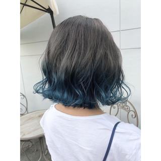ブルー ボブ ガーリー ネイビー ヘアスタイルや髪型の写真・画像
