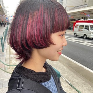 3Dハイライト ハイライト ミディアム マッシュウルフ ヘアスタイルや髪型の写真・画像